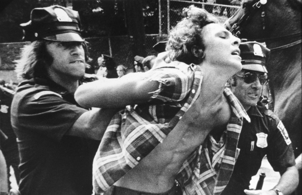 Police arrest protesters in Boston, MA, in 1974 during forced busing to racially integrate schools. Peter Bregg/AP