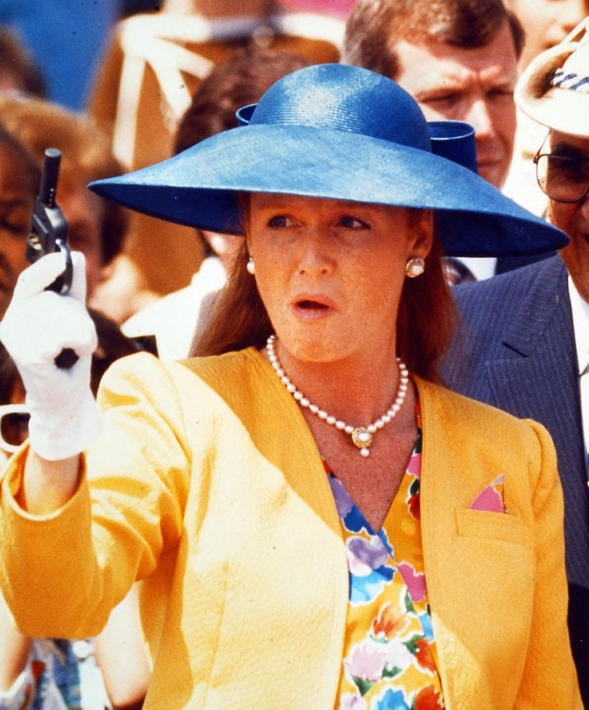 Duchess of York Sarah Ferguson reacts to a misfire on a starting pistol in Toronto at start of a walkathon in 1990. Peter Bregg
