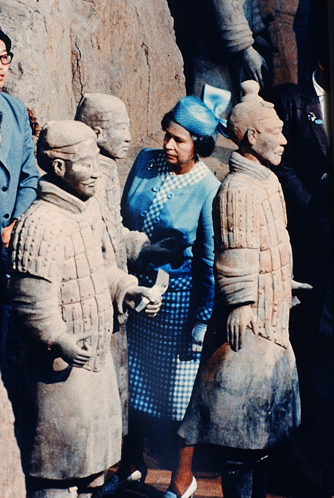 The Queen in 1986 visits the Terra Cotta Warriors in Xian China during her first visit to the communist county. Peter Bregg