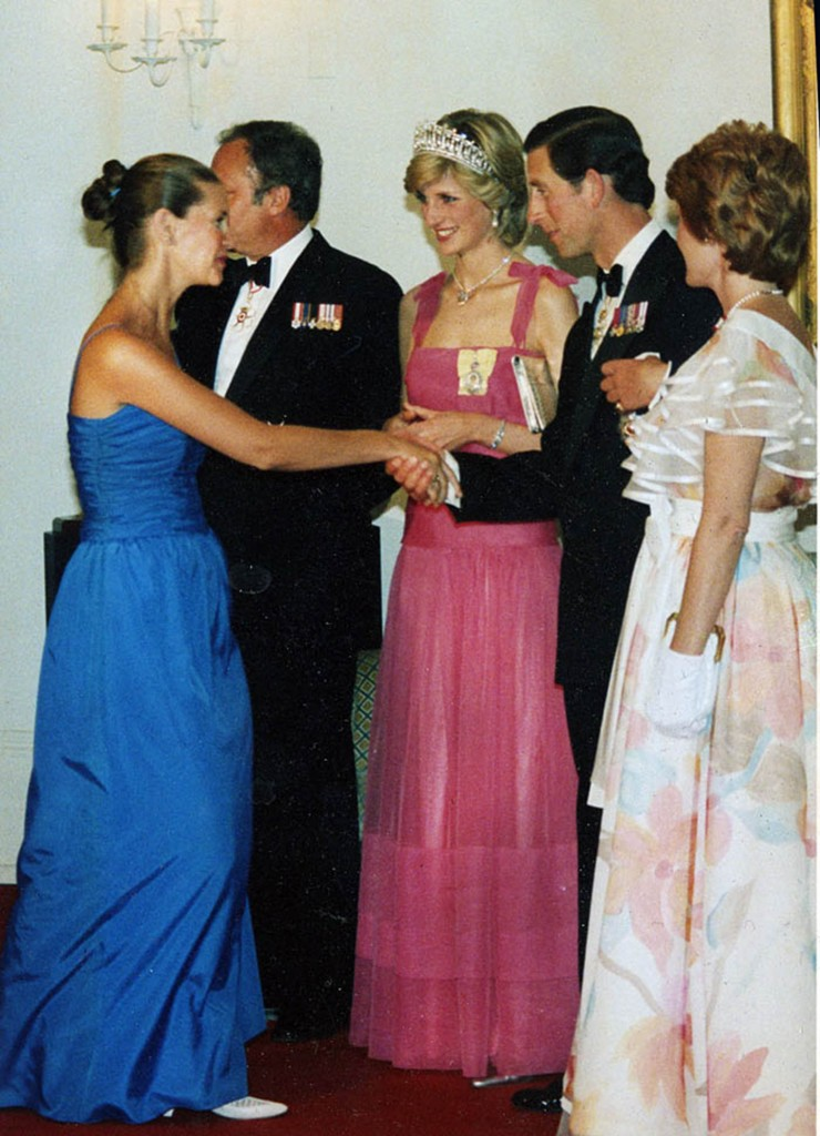 Diane Bregg meets The Prince and Princess of Wales at Rideau Hall as guest of Lily Schreyer at right in Ottawa during their first visit to Canada in 1983. Peter Bregg