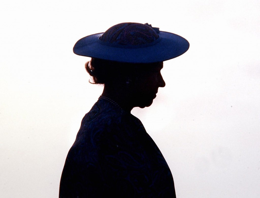 The Queen silhouetted in Barbados 1989. Peter Bregg
