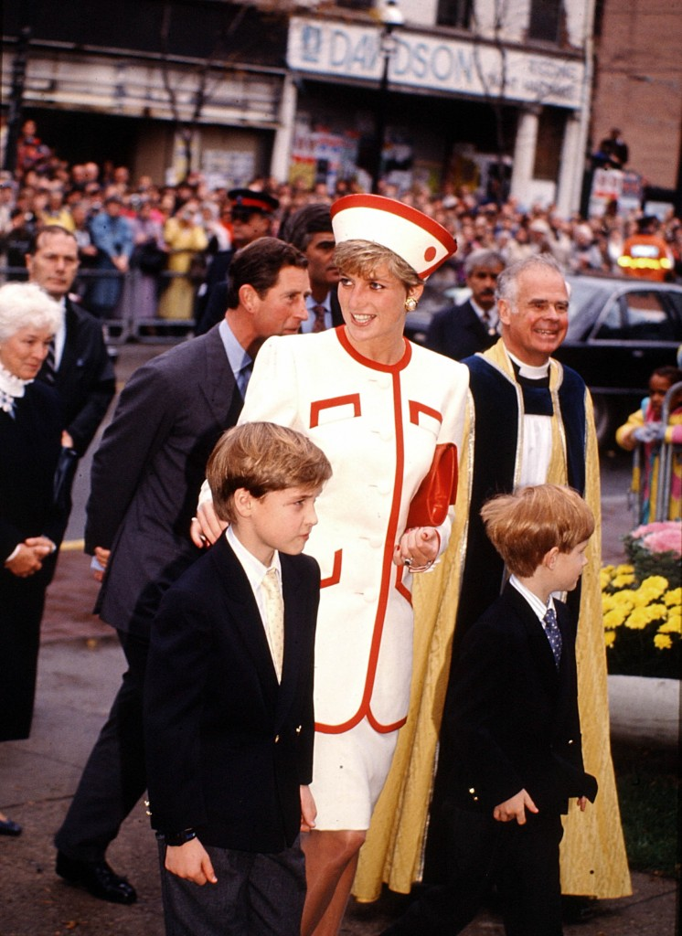 Princes Diana and Prince Charles with their sons, William and Harry in Toronto  arrive for  church service at St. James Cathedral. October 27, 1991.